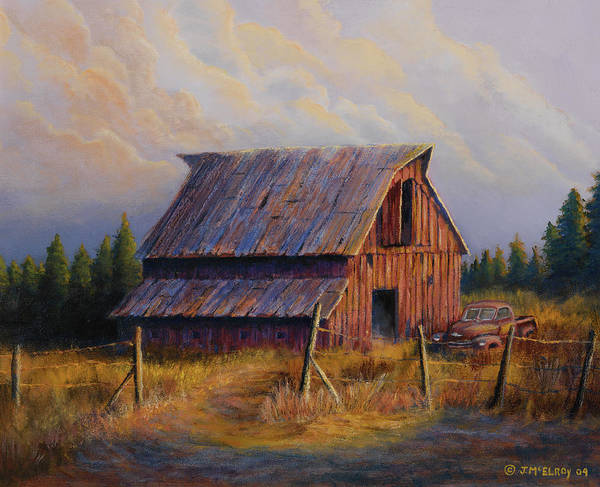 Barn Art Print featuring the painting Grandpas Truck by Jerry McElroy