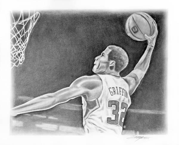 Clippers Print featuring the drawing Griffin by Don Medina