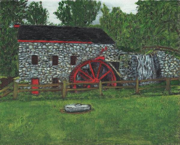 Landscape Art Print featuring the painting Grist Mill At Wayside Inn by Cliff Wilson