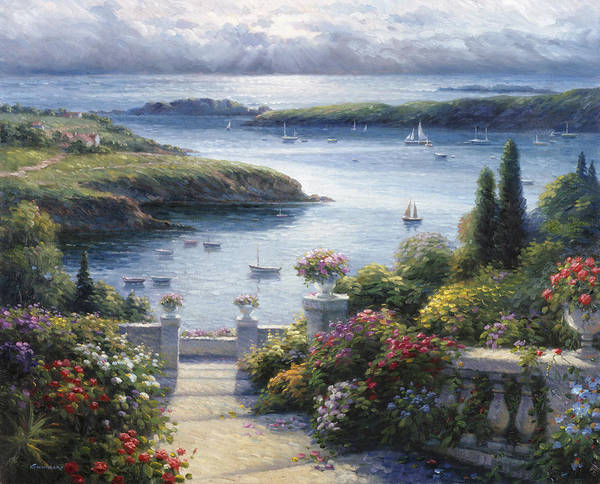 Woman Art Print featuring the painting Harbor Garden by Ghambaro