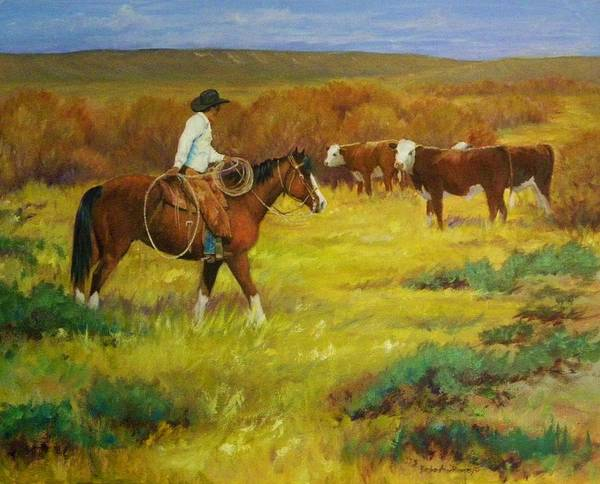 Western Art Print featuring the painting Head For The Willows by Barbara Anne Ramsey