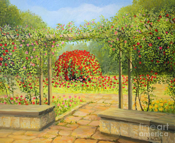 Art Art Print featuring the painting In The Rose Garden by Kiril Stanchev