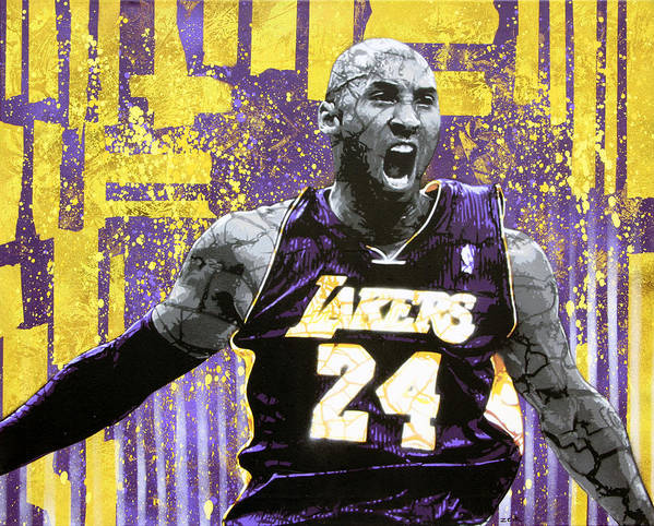 Kobe Art Print featuring the painting Kobe The Destroyer by Bobby Zeik
