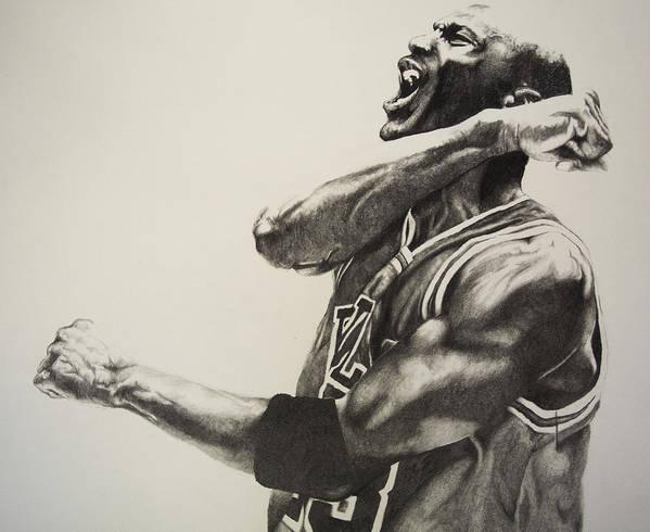 Michael Print featuring the drawing Michael Jordan by Jake Stapleton