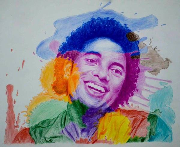 Michael Jackson Art Print featuring the drawing Mj Color Splatter by Sruthi Murali