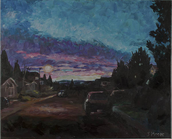 Landscape/street Scene Early Morning. Neighborhood Art Print featuring the painting Morning Too by Susan Moore