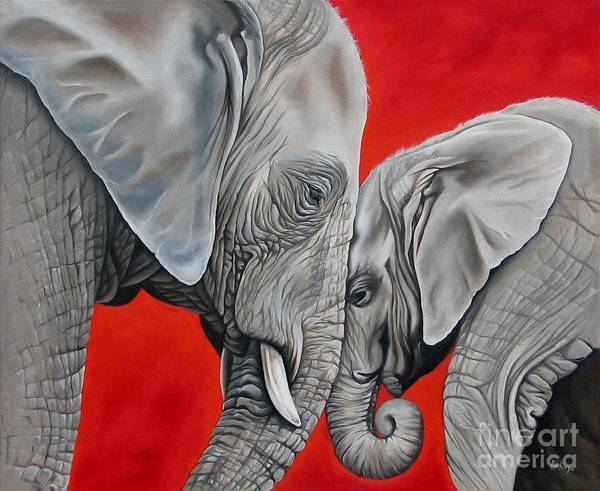 Elephant Art Print featuring the painting Mothers Love by Ilse Kleyn