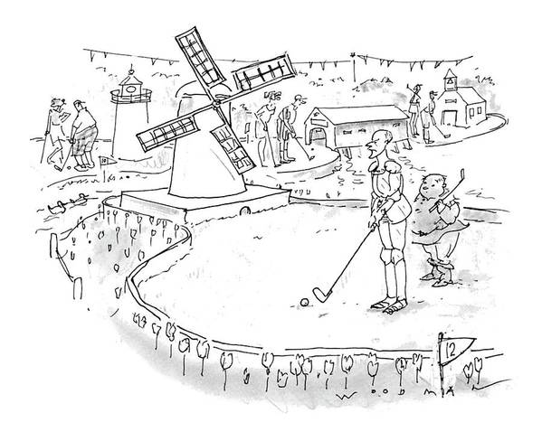 (don Quixote Art Print featuring the drawing New Yorker October 11th, 1993 by Bill Woodman