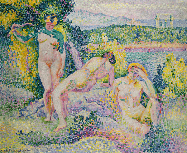 Nymphs Art Print featuring the painting Nymphs by Henri Edmond Cross