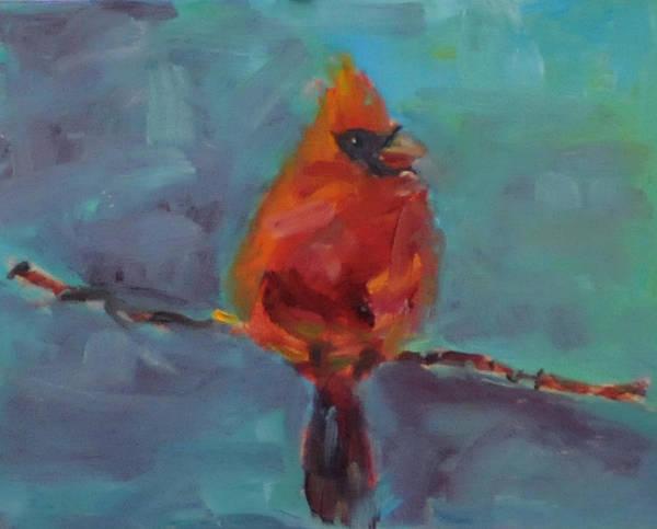 Bird Art Print featuring the painting Oklahoma Cardinal by Susie Jernigan