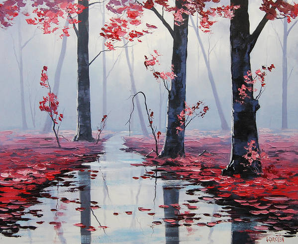 Pink Trees Art Print featuring the painting Pink Trees River Landscape by Graham Gercken