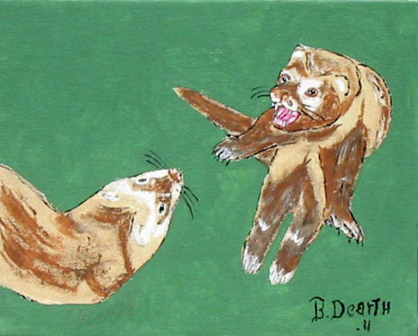 Ferrets Art Print featuring the painting Play Time by Brian Dearth