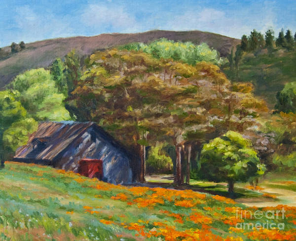 Poppies Art Print featuring the painting Poppies Near The Barn by Laura Sapko