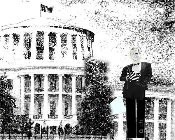 White House Art Print featuring the drawing Presidential by Belinda Threeths