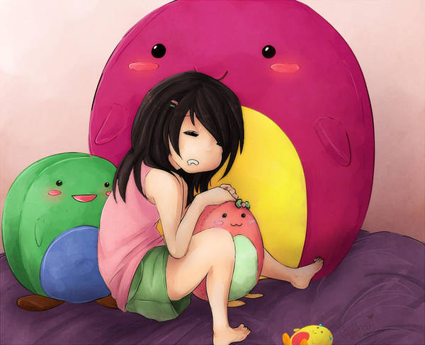 Cute Art Print featuring the digital art Sleepy Time by Ukii Chan