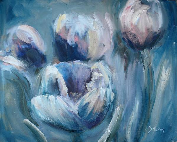 Impasto Art Print featuring the painting Spring Tulips by Donna Tuten