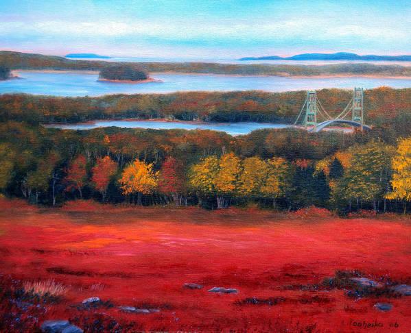Maine Art Print featuring the painting Stonington Bridge In Autumn by Laura Tasheiko