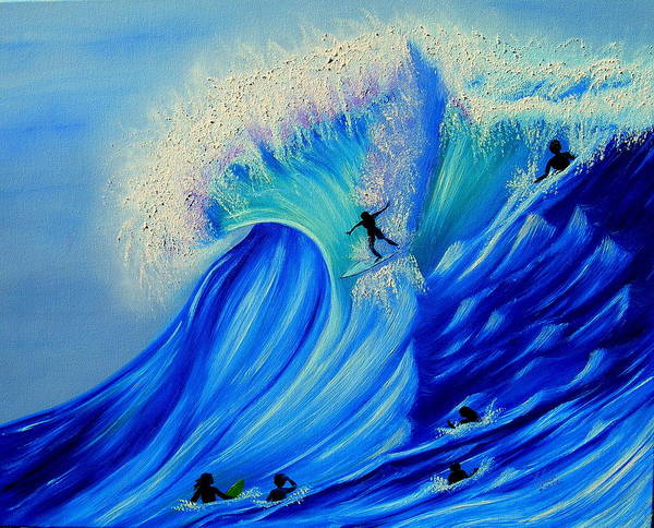 Surf Art Print featuring the painting Surfing Party by Kathern Welsh