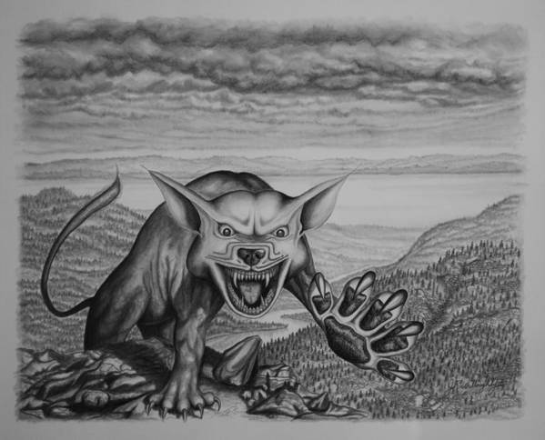 Storm Art Print featuring the drawing The Beast by James Willoughby III