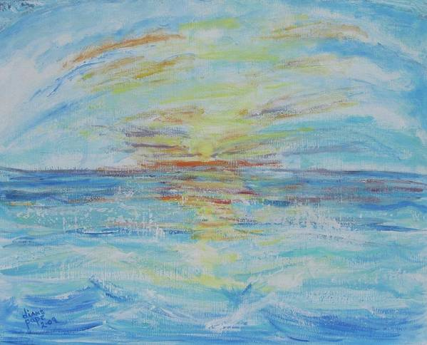 Ocean Art Print featuring the painting The Golden Lady by Diane Pape