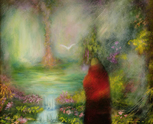 Dream; Dove; Priest; Abstract; Waterfall; Buddhist; Buddhism Print featuring the painting The Tibetan Monk by Hannibal Mane