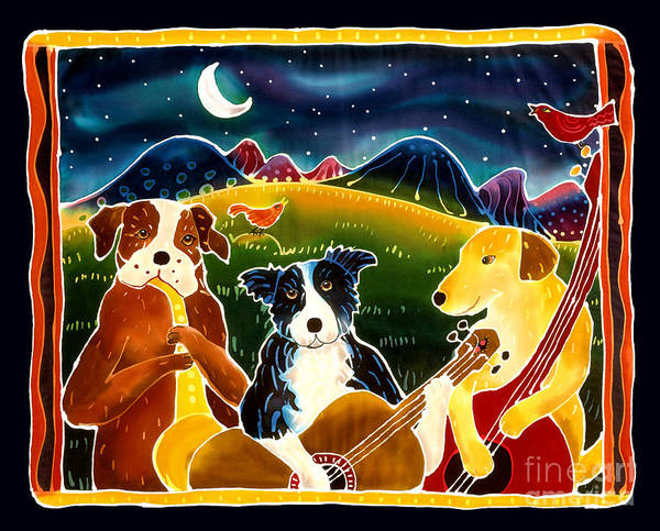 Dog Art Print featuring the painting Three Dog Night by Harriet Peck Taylor