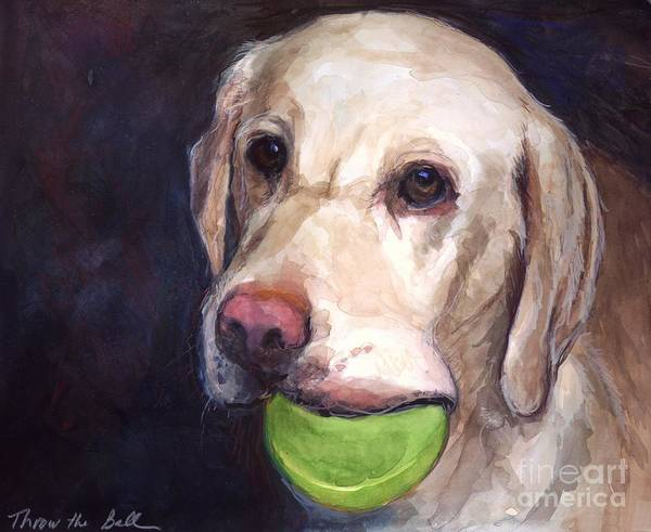 Yellow Labrador Retriever Print featuring the painting Throw The Ball by Molly Poole