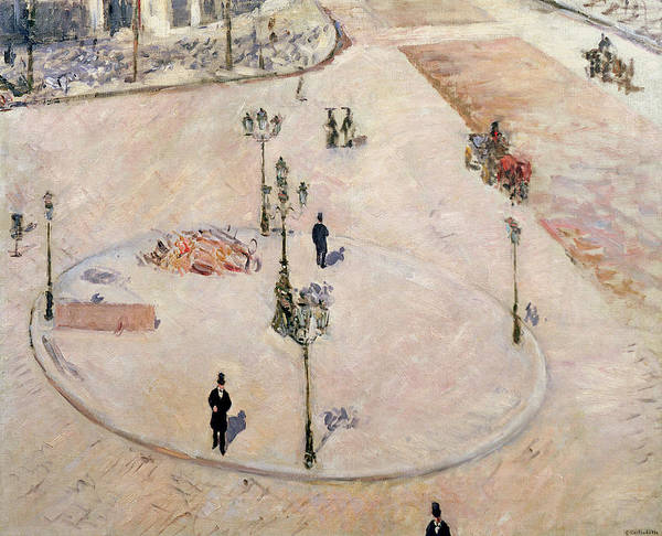 Un Refuge Art Print featuring the painting Traffic Island On Boulevard Haussmann by Gustave Caillebotte