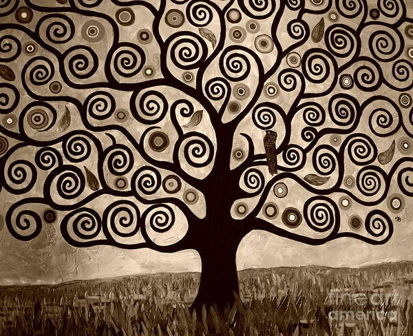 Sepia Art Print featuring the painting Tree Of Life In Sepia by Samantha Black