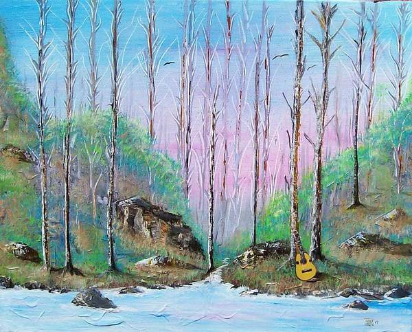 Landscape Art Print featuring the painting Trees With Cuatro by Tony Rodriguez