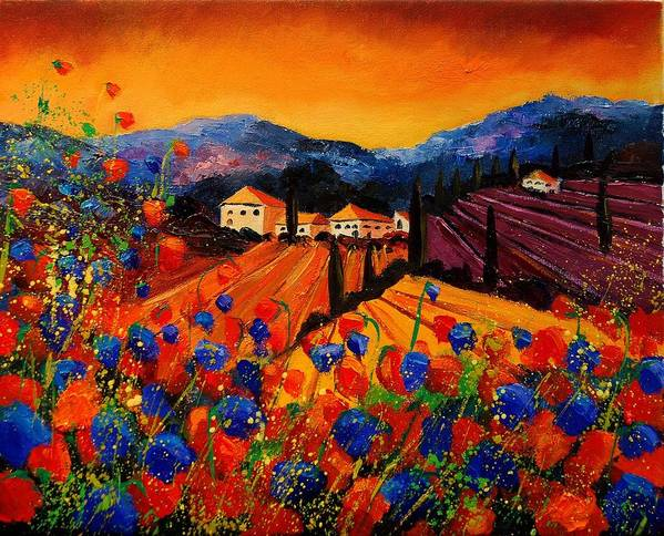 Poppies Art Print featuring the painting Tuscany Poppies by Pol Ledent