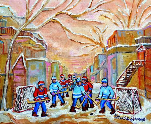 Montreal Art Print featuring the painting Verdun Back Lane Hockey Practice Montreal Winter City Scen Painting Carole Spandau by Carole Spandau