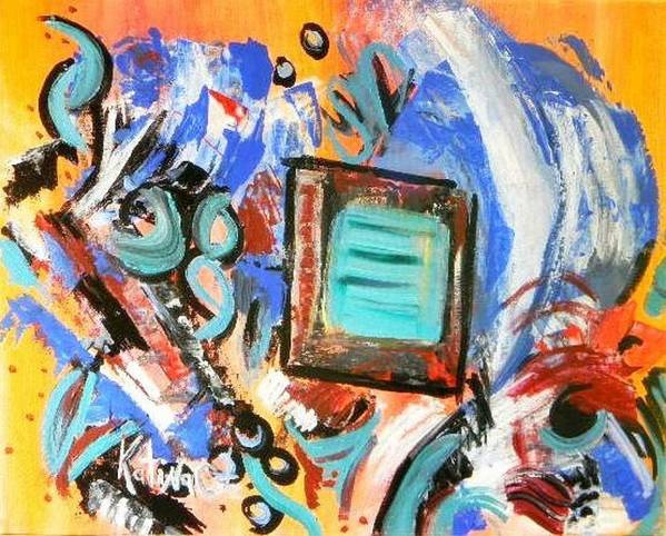 Modern Art Art Print featuring the painting Pizazz by Katina Cote