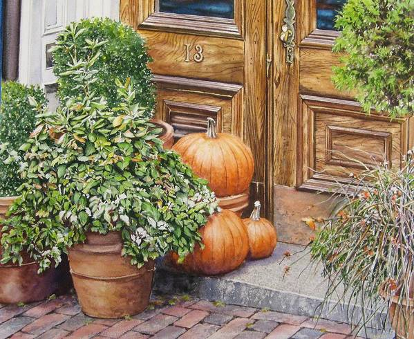 Watercolors Art Print featuring the painting 13 Pumpkin Place by John Bowen