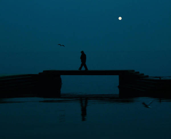 Full Moon Print featuring the photograph A Lone Man by Jasna Buncic
