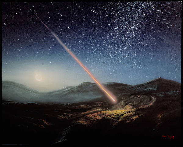 Earth Collision Art Print featuring the photograph Artwork Of Meteorite Hitting The Ground by Chris Butler