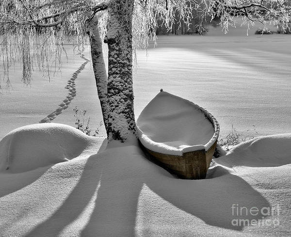 Rowboat Art Print featuring the photograph Bath And Snowy Rowboat by Ari Salmela