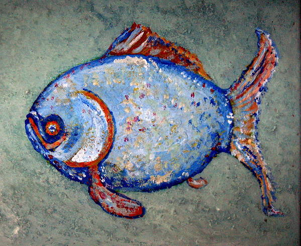 Fish Art Print featuring the painting Blue Fish by Jane Williams Clayton