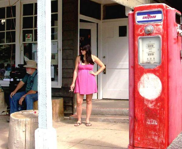 Red Gas Pump Art Print featuring the photograph Bus Stop by Cj Carroll