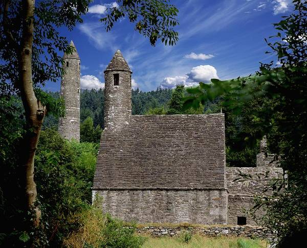 Architectural Exterior Art Print featuring the photograph Chapel Of Saint Kevin At Glendalough by The Irish Image Collection