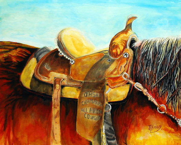 Artandipm Art Print featuring the painting Cowgirl Saddle by Mike Kinsey