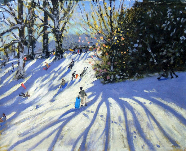 Sledge Art Print featuring the painting Early Snow Darley Park by Andrew Macara