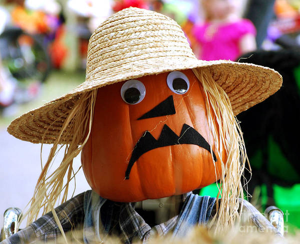 Pumpkin Art Print featuring the photograph Grumpy Pumpkin by Monica Poole