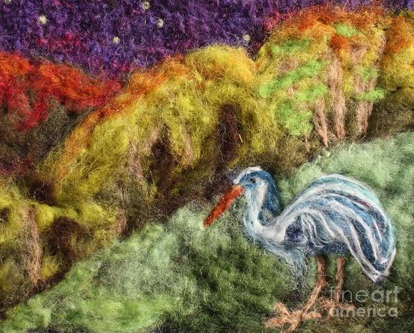 Heron Print featuring the tapestry - textile Heron At Night by Nicole Besack