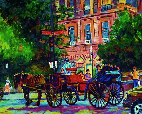 Rue Notre Dame Art Print featuring the painting Horsedrawn Carriage by Carole Spandau