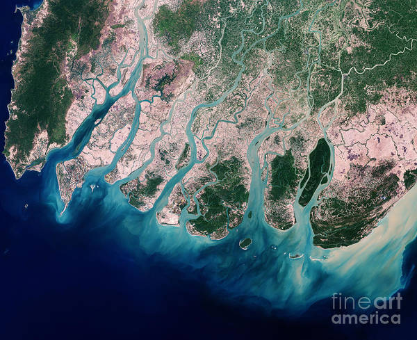 Satellite Art Print featuring the photograph Irrawaddy River Delta by Nasa