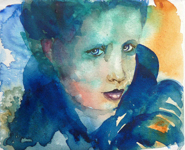 Woman Art Print featuring the painting Lady Blue by P Maure Bausch