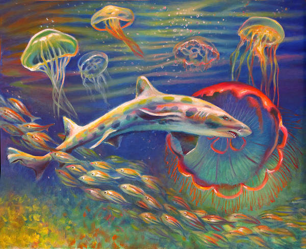 Leopard Shark Art Print featuring the painting Leopard Shark And Jellyfish by Nancy Tilles