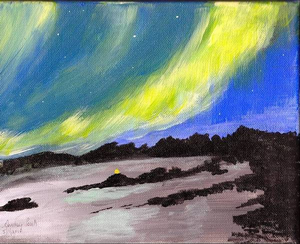Northern Lights Art Print featuring the painting Northern Lights 1 by Audrey Pollitt
