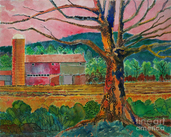 Barn Paintings Art Print featuring the painting Old Herschel Farm by Donald McGibbon